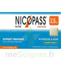 NICOPASS MENTHE FRAICHEUR 2,5 mg SANS SUCRE, pastille édulcorée à l'aspartam et à l'acésulfame potassique à Lacanau